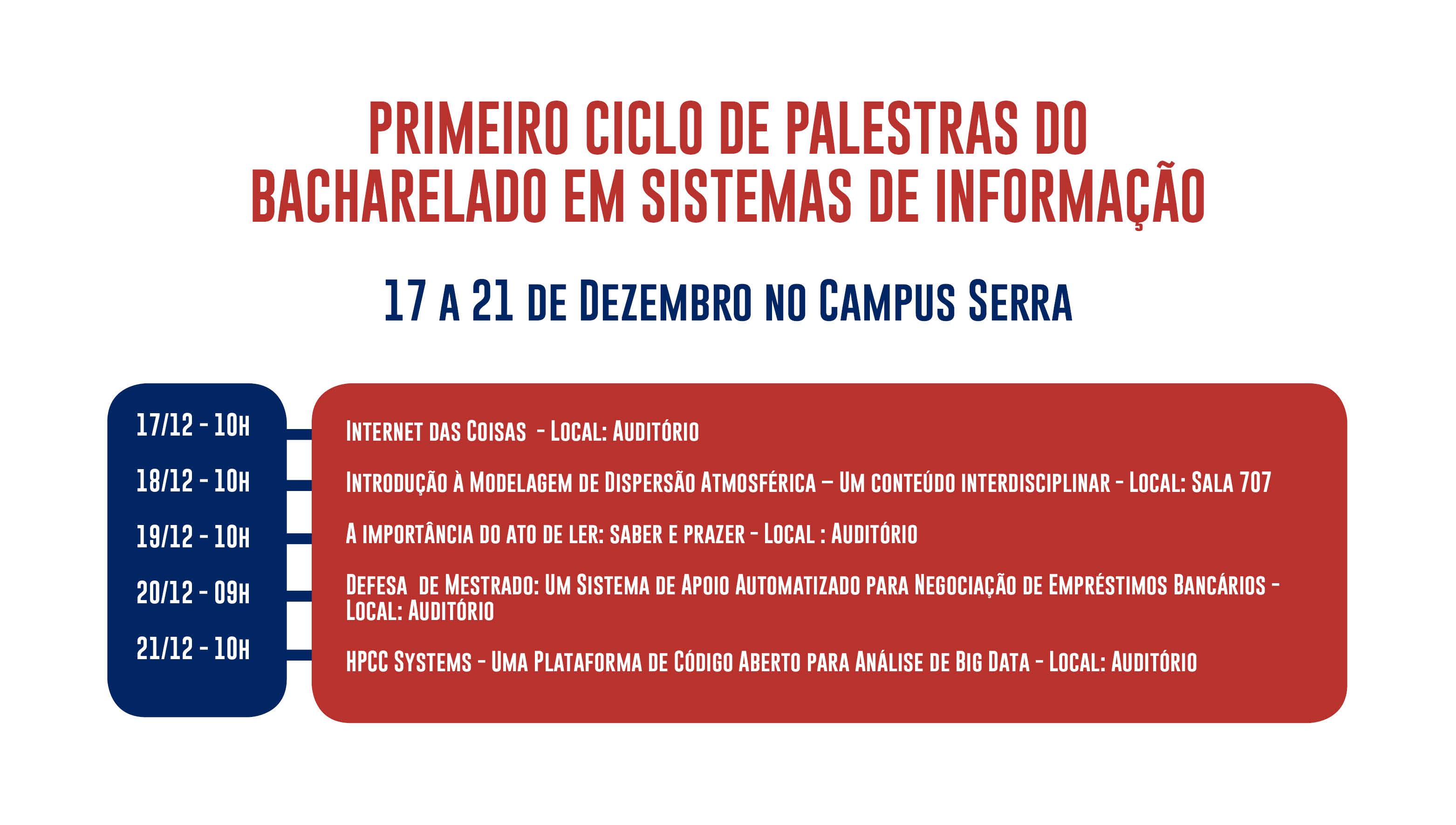 Primeiro ciclo de palestras do curso de BSI acontece de 17 a 21 de dezembro