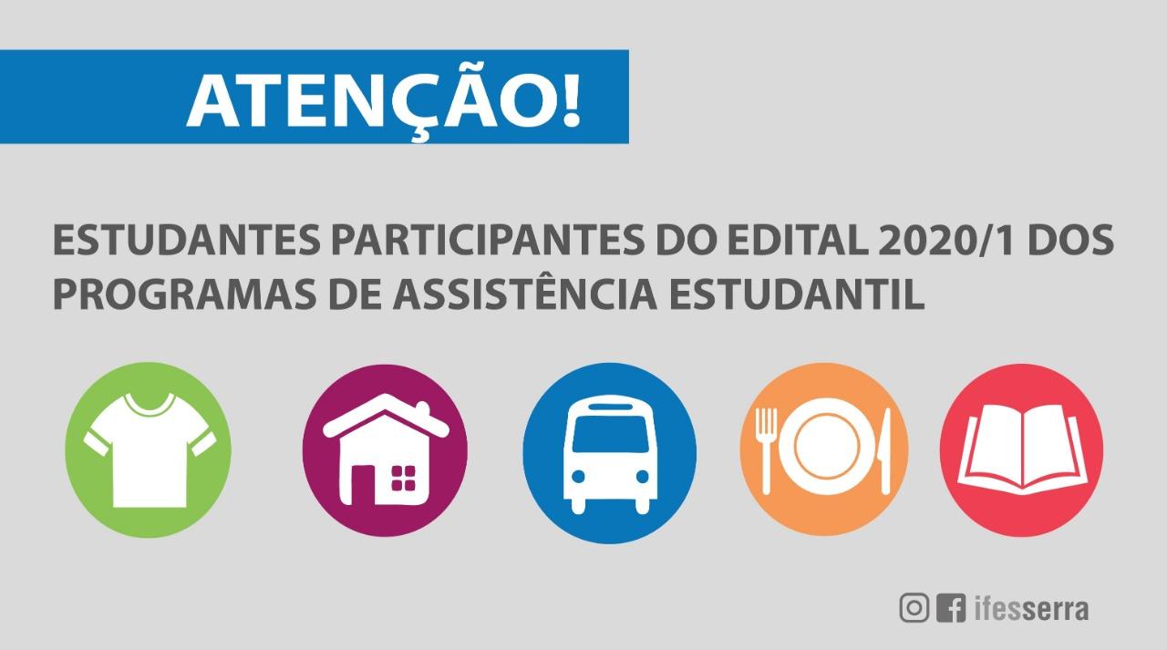 Comunicado aos estudantes participantes do Edital 2020/1 dos Programas de Assistência Estudantil